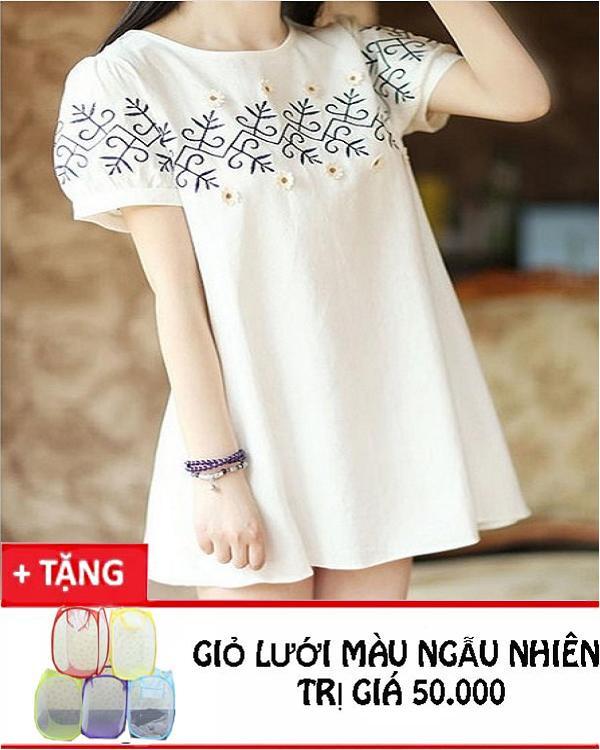 Đầm thêu hoa vải lanh Rozalo RWD3047W - Trắng.png