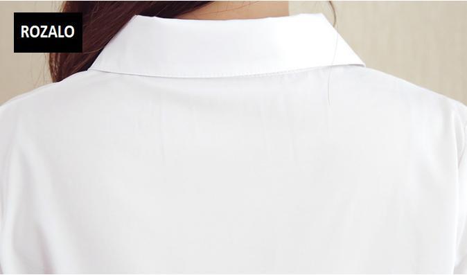 Áo sơ mĩ nữ  dáng suông dài tay Rozalo RW31547W-Trắng8.png