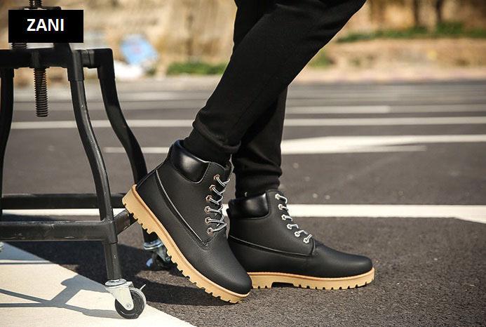 Giày boot nam cổ cao chống thấm Zani ZM6604B-Đen