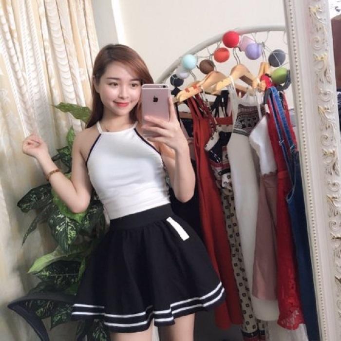 Chân Váy Xòe Phối Viền Hàn Quốc - BT Fashion (Lưng Thun-Đen) VA001a - Ảnh 6