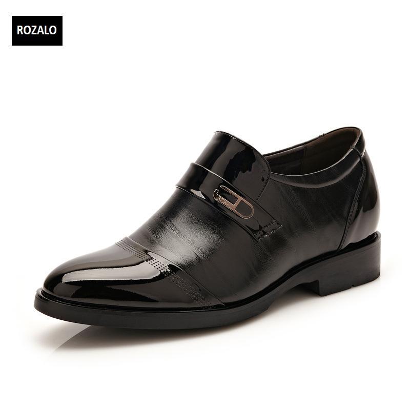 Giày da thời trang nam đế cao ROZALO RM62393B-Đen