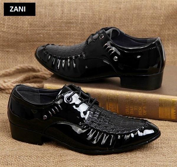 Giày tây nam da bóng ZANI ZN3237B-Đen