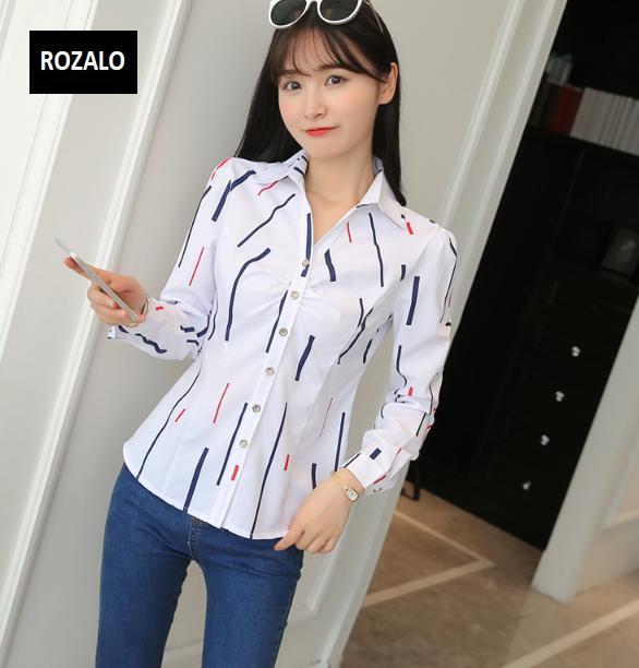 Áo sơ mi nữ  công sở dài tay Rozalo RW22941TM-Thanh Màu