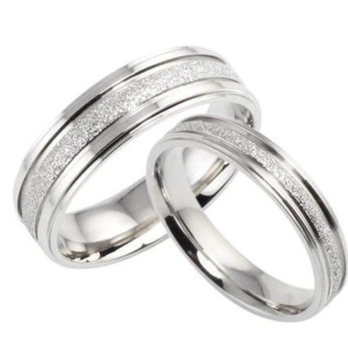 Nhẫn cặp đôi trơn phun cát màu trắng đơn giản NC5644 (2).jpg