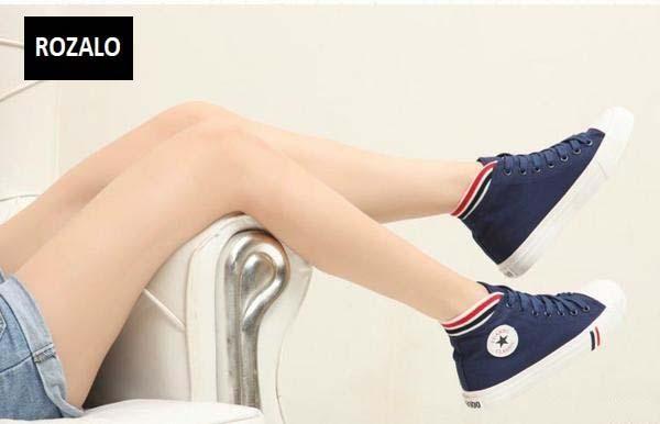 Giày vải nữ đế cao Rozalo RWG3188XD-Xanh Đen