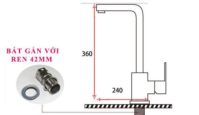 Vòi rửa chén nóng lạnh Inox SUS 304 Eurolife EL-T002 (Trắng vàng)-9.jpg