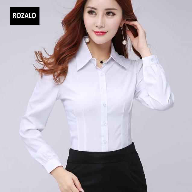 Áo sơ mi nữ công sở dài tay Rozalo RW32571W-Trắng2.png