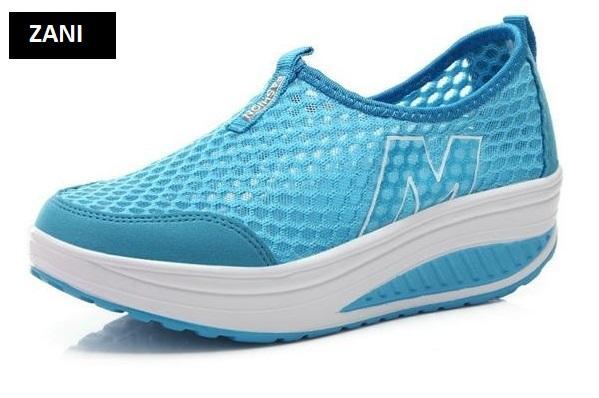 Giày lưới thể thao nữ đế cao ZANI ZN53308BL-Xanh