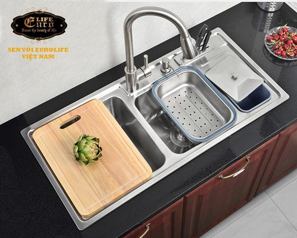 Vòi rửa chén nóng lạnh tay kéo Inox SUS 304 Eurolife EL-T011-24.jpg