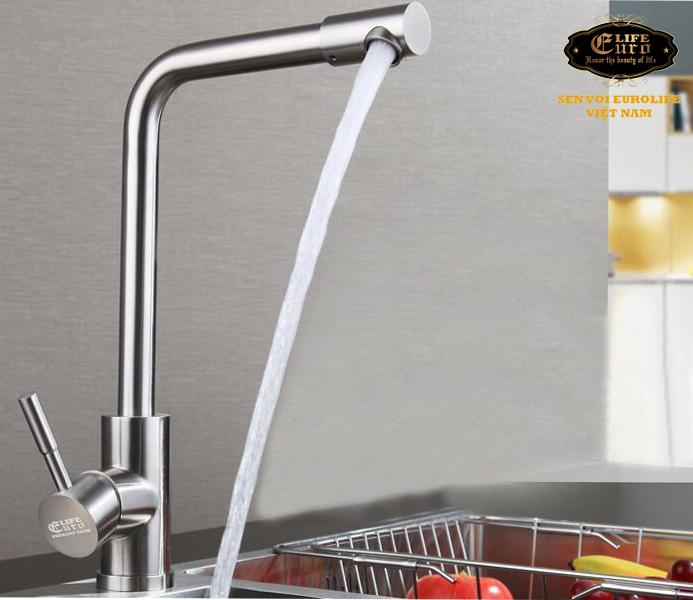 Vòi rửa chén nóng lạnh Inox SUS 304 Eurolife EL-T008 (Trắng vàng)-3.jpg