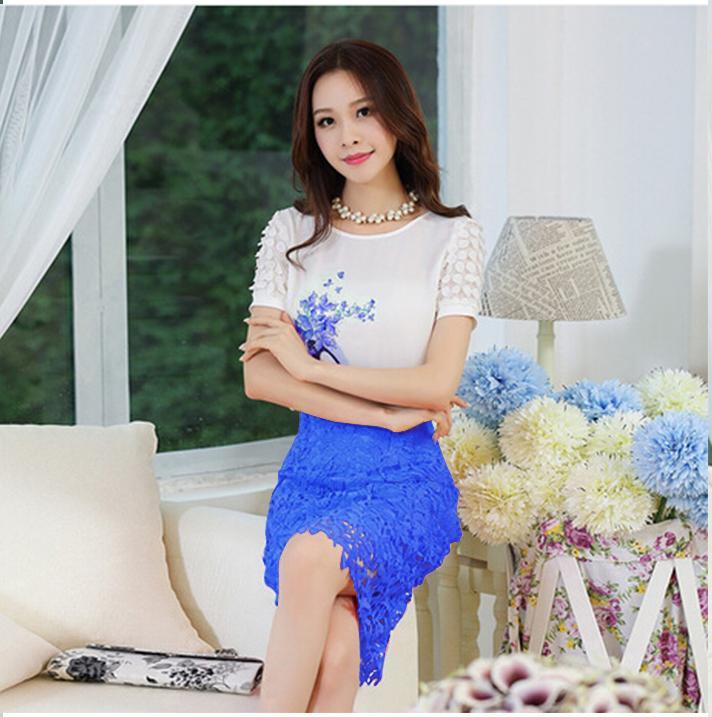 Set áo in họa tiết chiếc giầy và chân váy ren màu xanh SET070