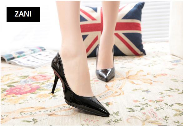 Giày cao gót nữ công sở 8cm Zani ZW31897P-Đen