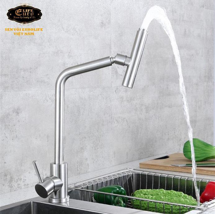 Vòi rửa chén nóng lạnh Inox SUS 304 Eurolife EL-T031-2 .jpg
