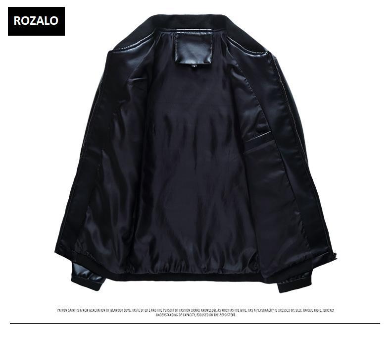 Áo da nam thời trang cổ tròn Rozalo RM8916B-Đen4.jpg
