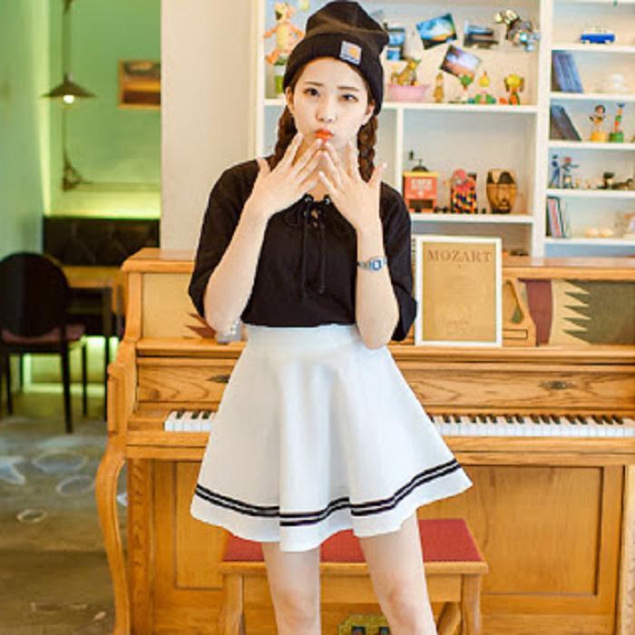 Chân Váy Xòe Phối Viền Hàn Quốc - BT Fashion (Lưng Thun-Đen) VA001a - Ảnh 3