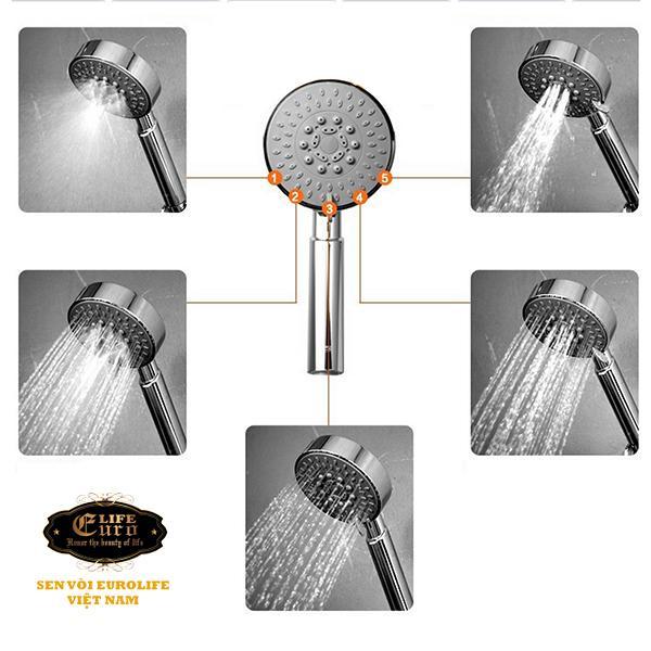 Bộ tay dây sen 5 chế độ nước chảy Eurolife EL-100SH-1.jpg