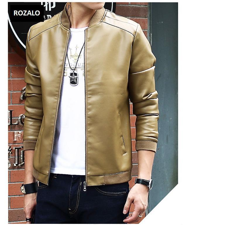 Áo da nam thời trang cổ tròn Rozalo RM8916K-Khaki1.jpg