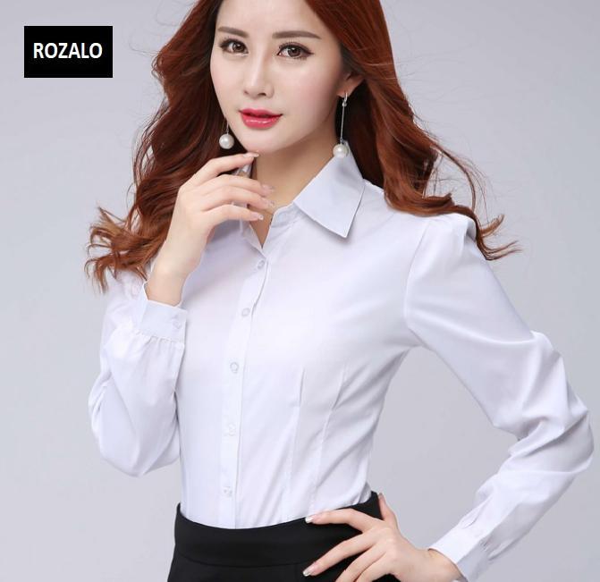 Áo sơ mi nữ công sở dài tay Rozalo RW32571W-Trắng1.png