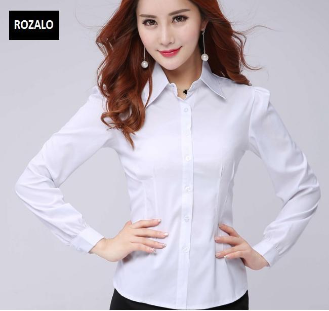 Áo sơ mi nữ công sở dài tay Rozalo RW32571W-Trắng