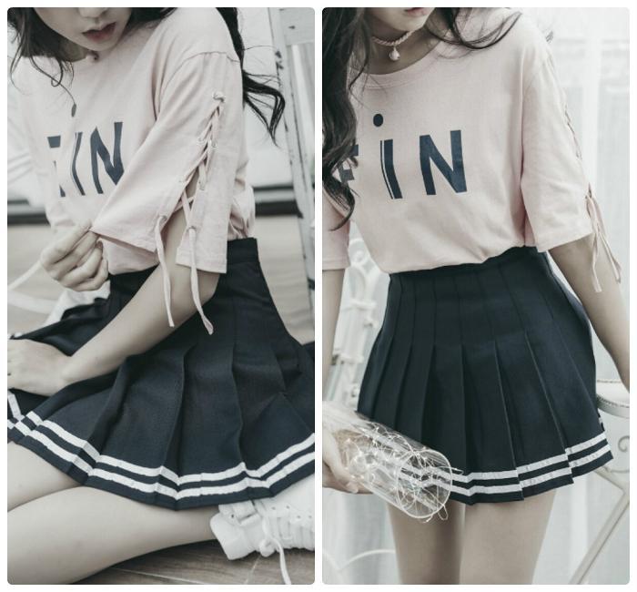 Váy Ngắn Xếp Ly Lưng Cao Hàn Quốc-BT Fashion VA025(Phối Viền-Hồng) - Ảnh 6