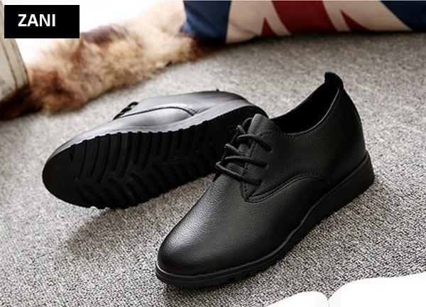 Giày nữ Oxford kiểu dây buộc Zani ZW7088BL-Đen