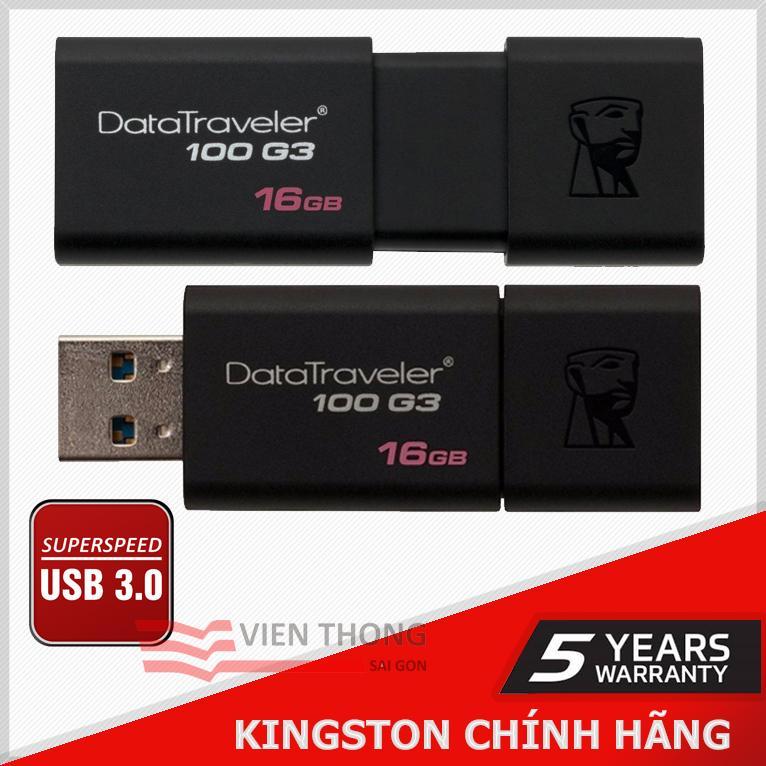 USB 3.0 Kingston DT100G3 16GB (Đen) - Chính hãng phân phối