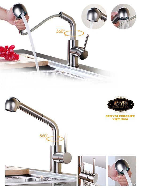 Vòi rửa chén nóng lạnh tay kéo Inox SUS 304 Eurolife EL-T010 -311.jpg
