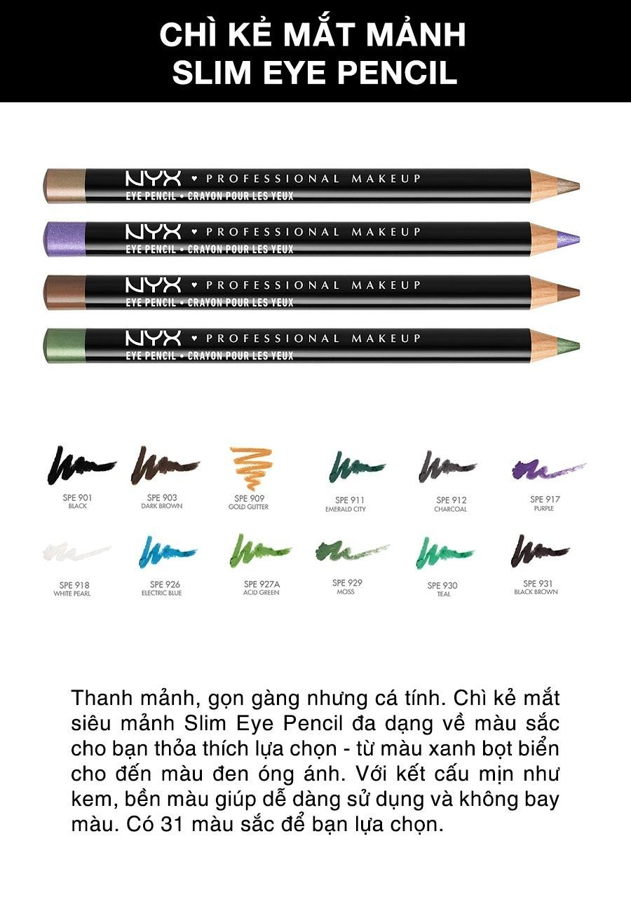 Chì kẻ mắt siêu mảnh NYX Professional Makeup Slim Eyes Pencil Charcoal SPE912