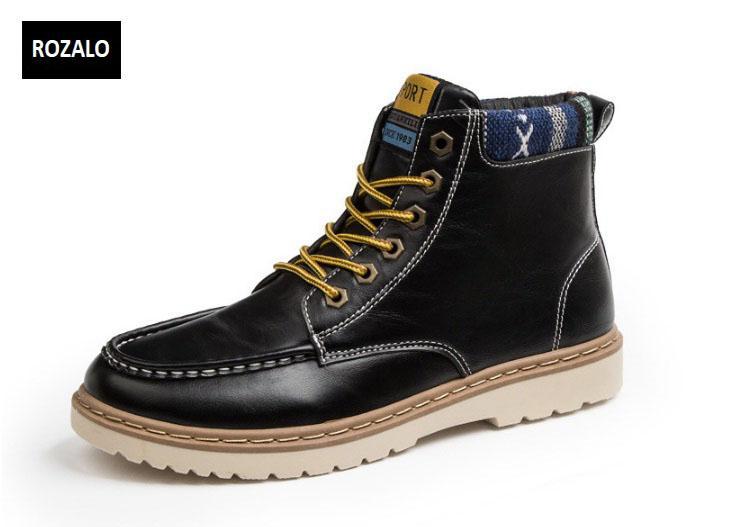 Giày nam cổ cao dã ngoại chống thấm đế bằng Rozalo RM58819B-Đen1.jpg
