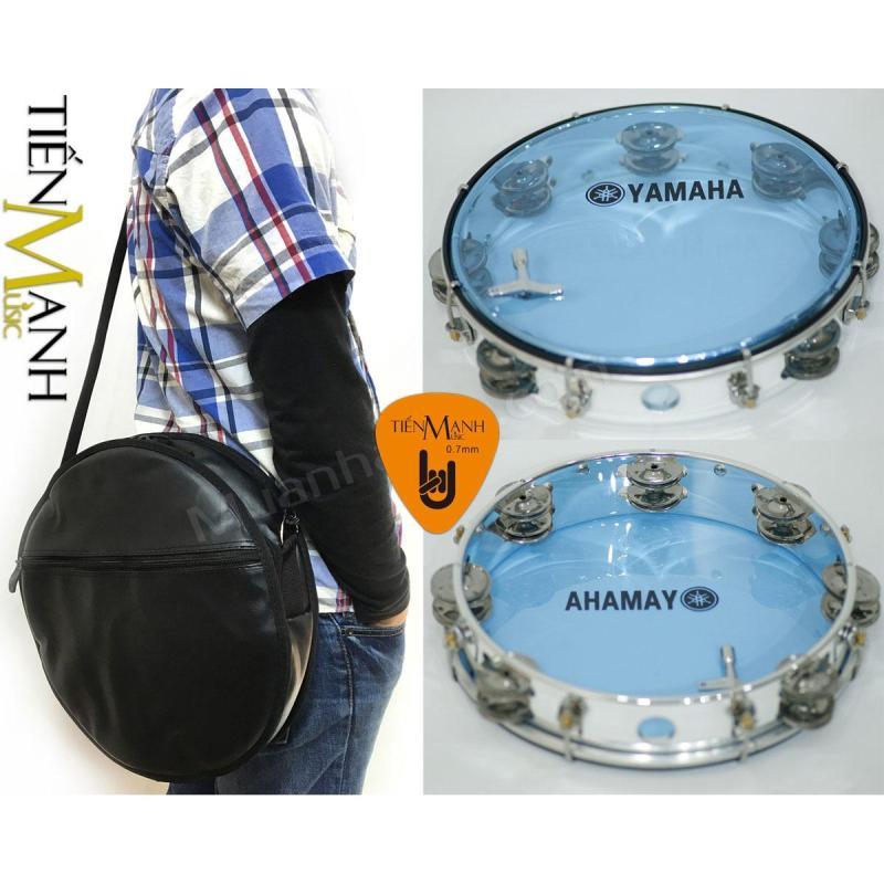 Combo Trống lắc tay và Bao đựng Lục Lạc Gõ Bo Tambourine Yamaha MT6-102B (Xanh Trong Suốt - Trống chơi nhạc chế gõ po - Xipo - Tặng móng gẩy Tiến Mạnh Music)