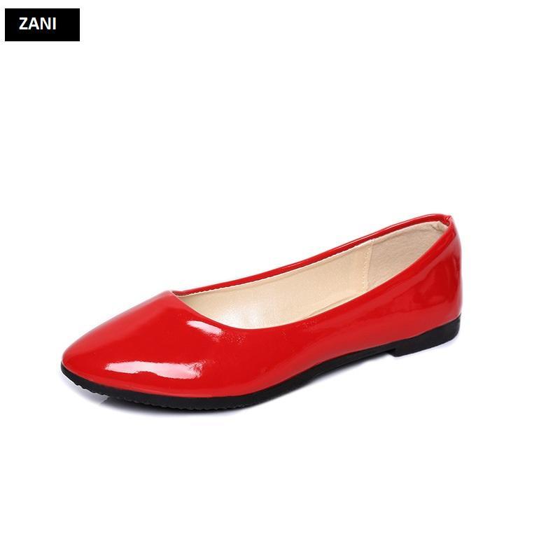 Giày búp bê đế bệt ZANI ZW85016R-Đỏ