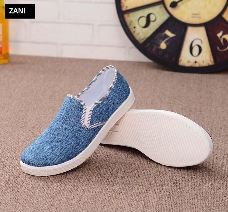 Giày lười vải nam ZANI ZN49102X-Xanh
