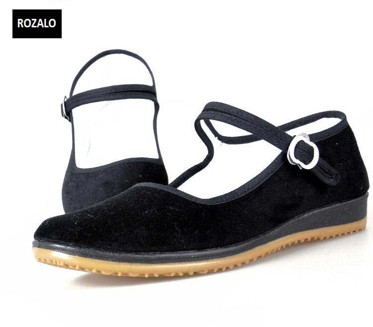 Giày nữ đế bằng có quai Rozalo RW31037YB - Đen