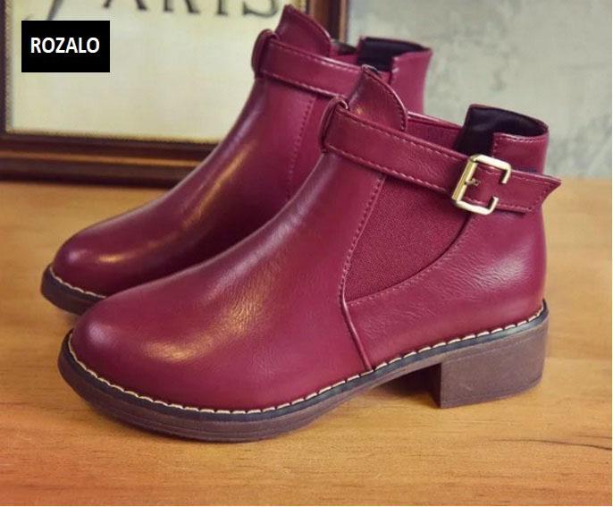 Giày chelsea boots nữ có đai Rozalo RW3758