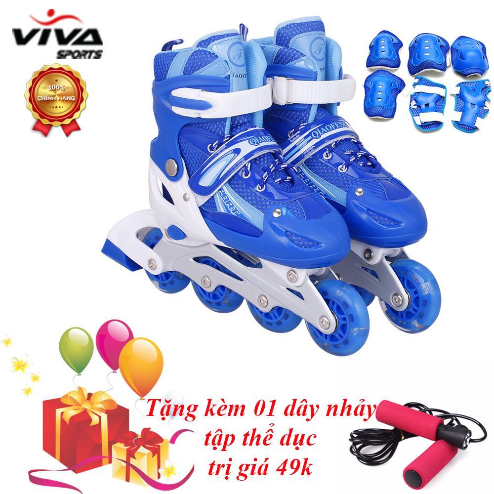 Giày Trượt Patin Gắn Đinh Phát Sáng Cao Cấp (SIZE M) & Đồ Bảo Hộ - VIVA SPORT ( TẶNG 1 DÂY NHẢY )