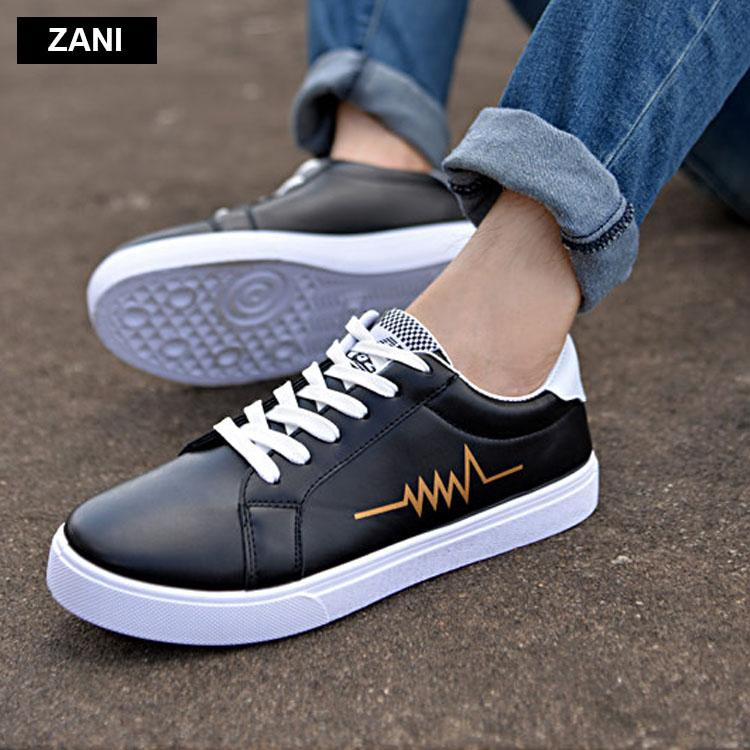 Giày da nam thời trang đế bằng dây buộc ZANI ZW3519