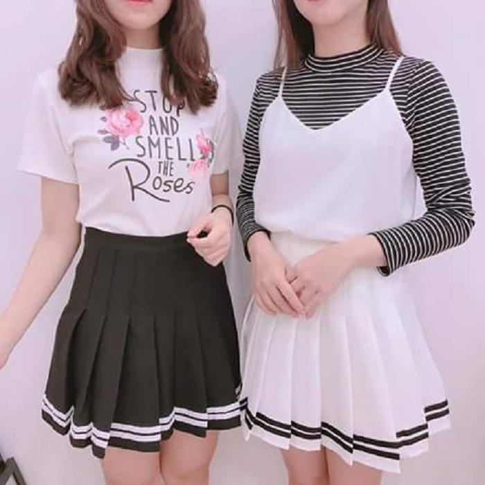 Váy Ngắn Xếp Ly Lưng Cao Hàn Quốc-BT Fashion VA025(Phối Viền-Hồng) - Ảnh 16