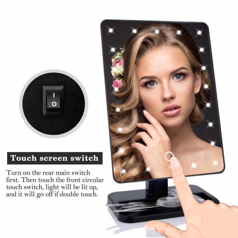 Gương trang điểm có đèn led 22 bóng cảm ứng để bàn