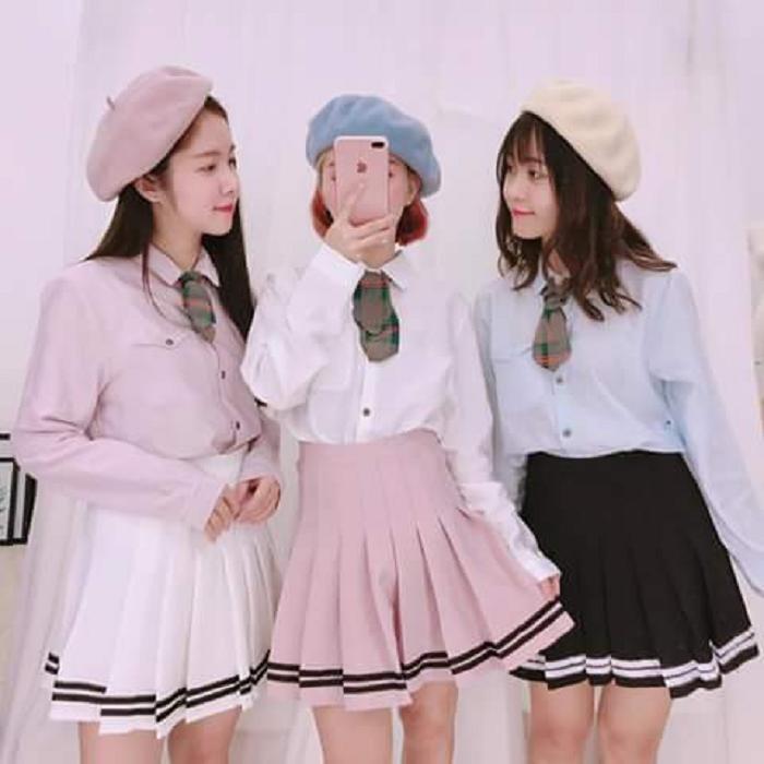 Váy Ngắn Xếp Ly Lưng Cao Hàn Quốc-BT Fashion VA025(Phối Viền-Hồng) - Ảnh 3