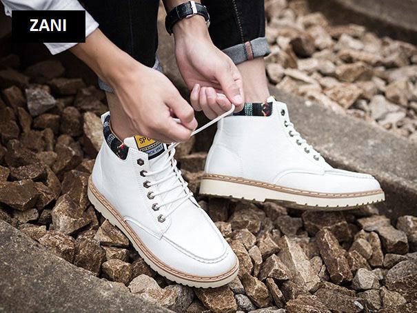 Giày nam cổ cao dã ngoại chống thấm đế bằng Zani ZM58819W-Trắng