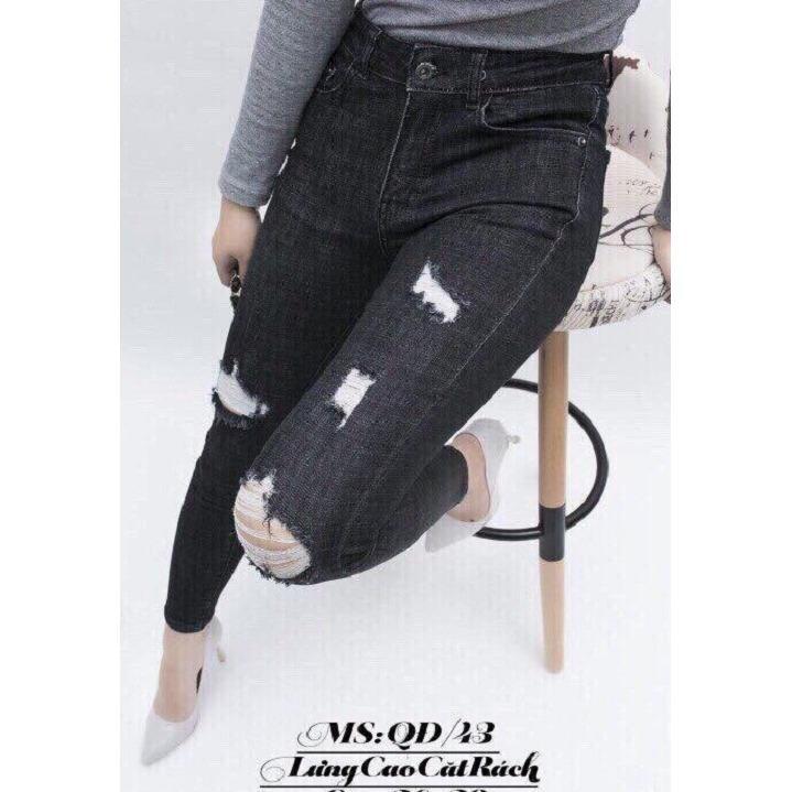 Quần jeans nữ cắt rách thời trang