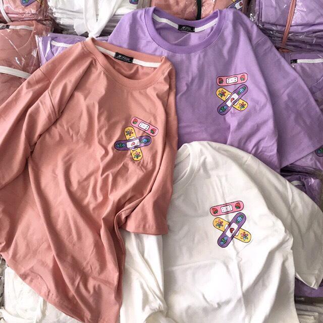 Áo phông áo thun nam nữ form rộng tay lỡ Unisex băng keo vui nhộn Từ 50-70kg