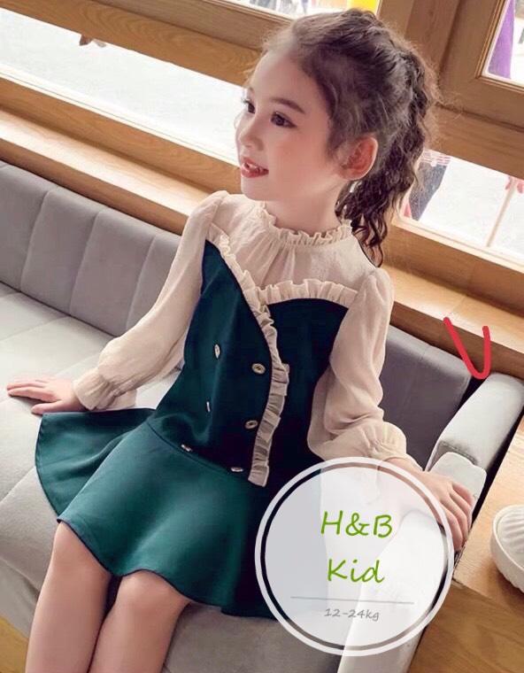 Đầm tiếu thư phối lụa cho bé gái từ 12kg - 23kg Đầm bé gái Quần áo bé gái Thời trang bé gái Đầm bé gái 3 tuổi Đầm bé gái dễ thương Đầm bé gái màu xanh Váy bé gái Váy tiểu thư