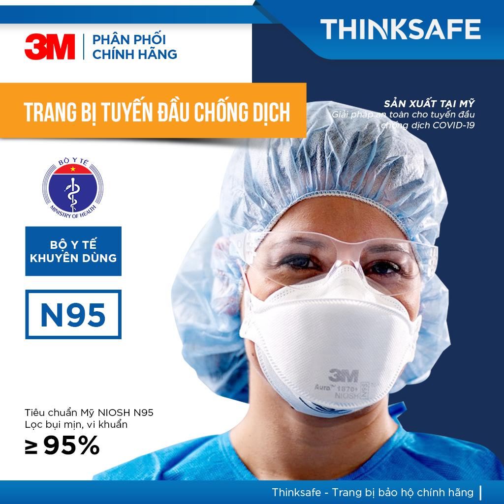 Khẩu trang N95 3M 1870 chuyên dùng cho bác sĩ - 3M 1870 đạt chuẩn FDA - Khẩu trang 3d mask, thiết kế thoải mái khi đeo | đạt chuẩn N95 kháng khuẩn, chống bụi,chống độc, Khẩu trang 3m chính hãng - Thinksafe chính hãng