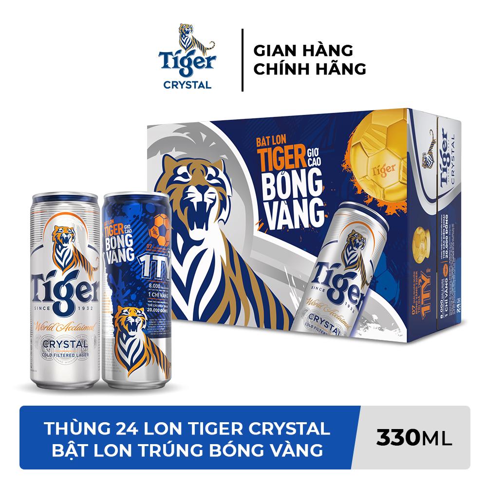 Thùng 24 lon bia Tiger Crystal (Bật lon Tiger giơ cao bóng vàng) 330ml/lon