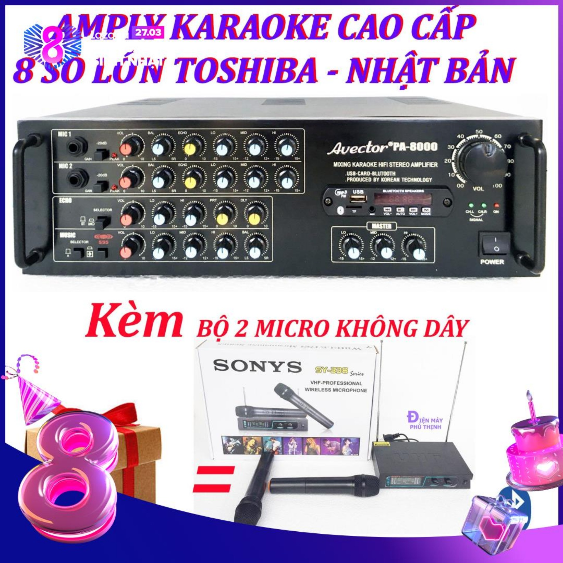 Amply karaoke ampli karaoke amply bluetooth nghe nhạc amply hat karaoke AVECTOR 8000 kèm 2 micro không dây sy338