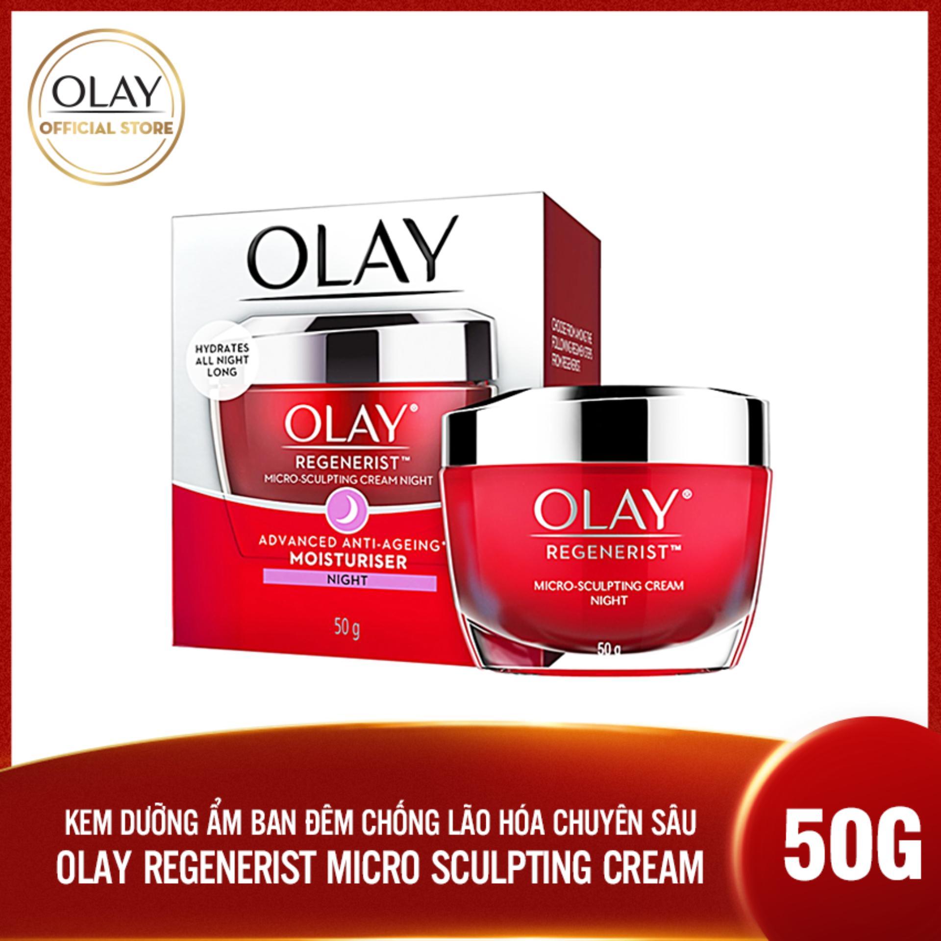 Kem dưỡng ẩm ban đêm chống lão hóa Olay Regenerist Micro Sculpting Cream Night 50g