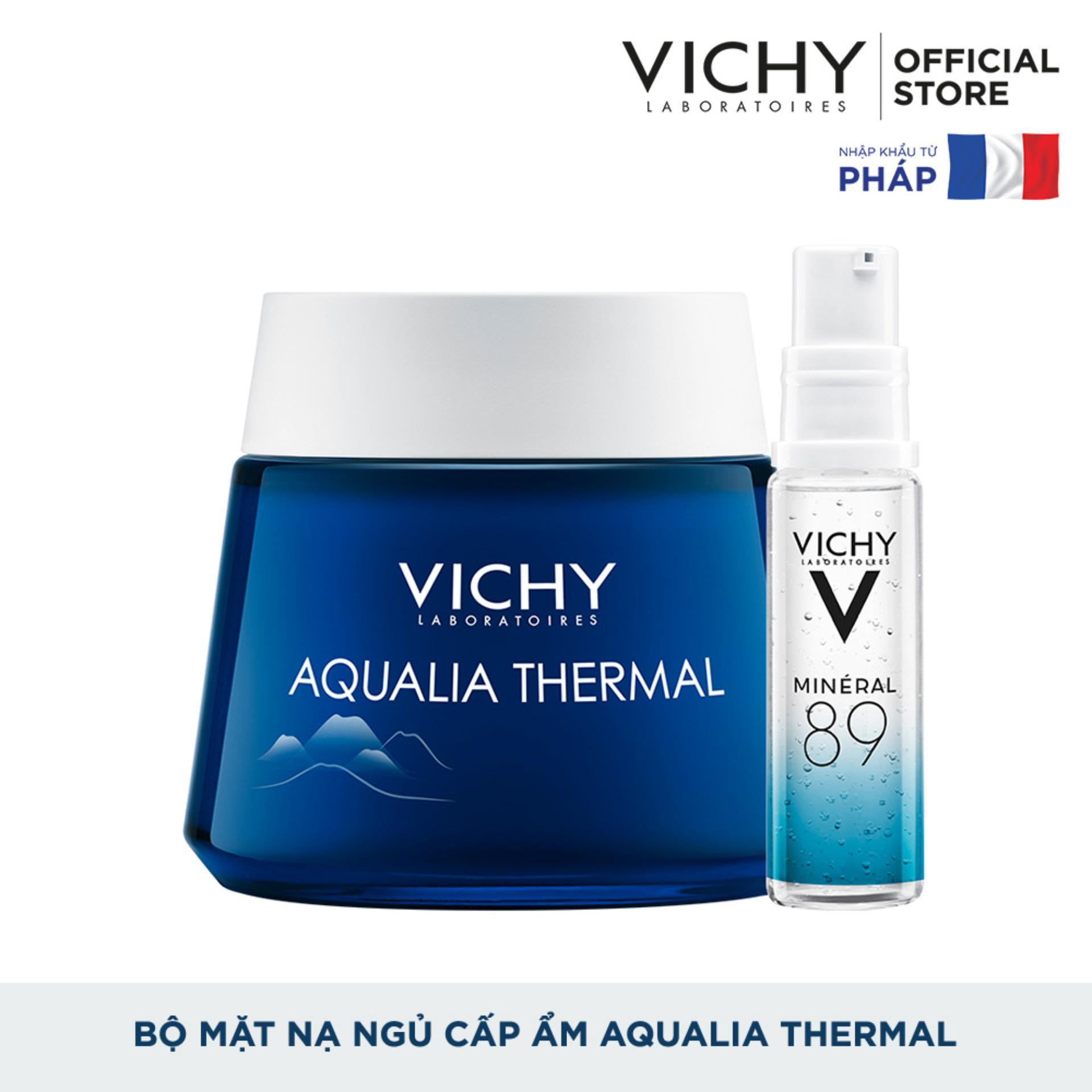 Bộ sản phẩm dưỡng kết hợp mặt nạ ngủ cấp ẩm và phục hồi da Vichy Aqualia Thermal Night Spa 75ml