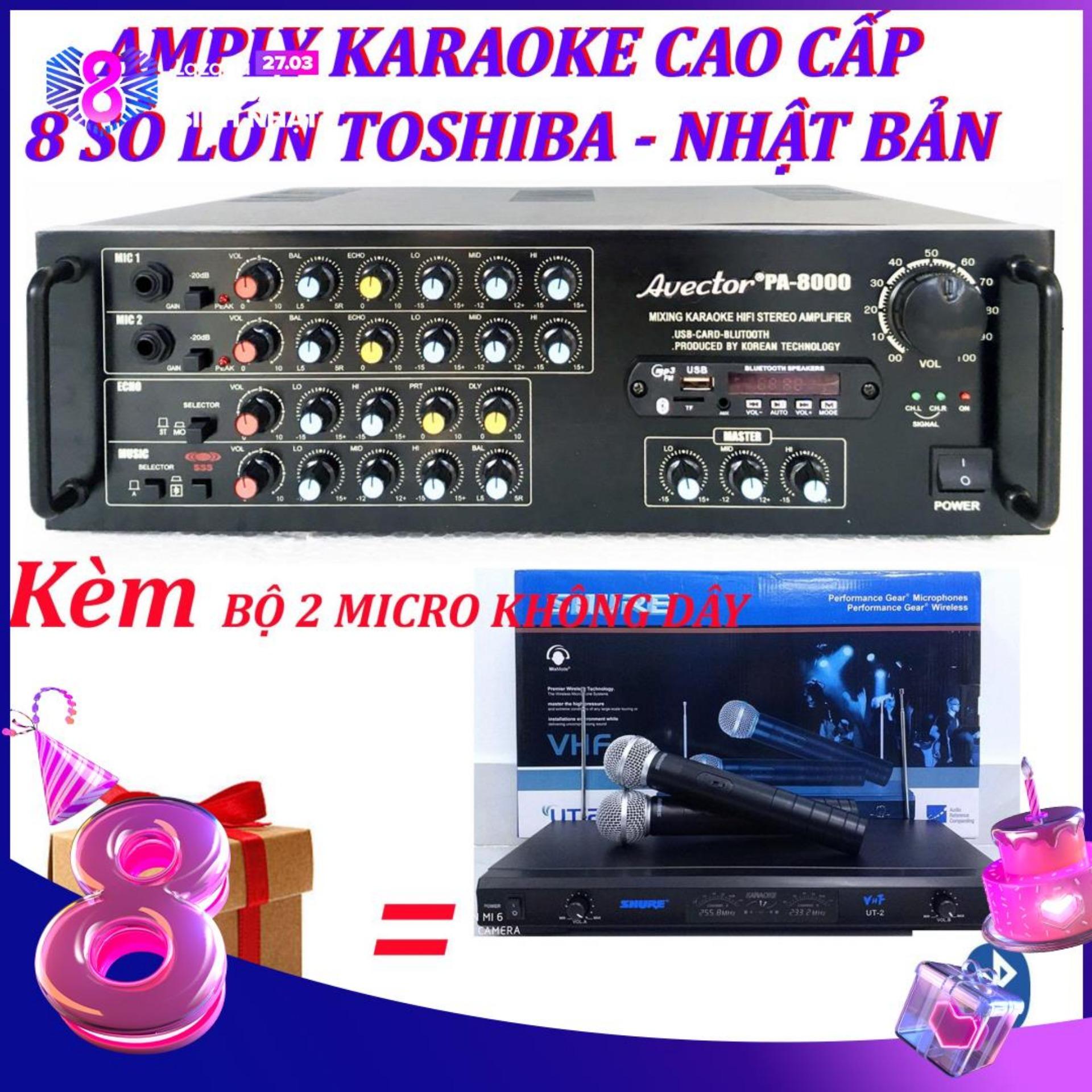 Amply karaoke ampli karaoke amply bluetooth nghe nhạc amply hat karaoke AVECTOR 8000 kèm 2 micro không dây ut2