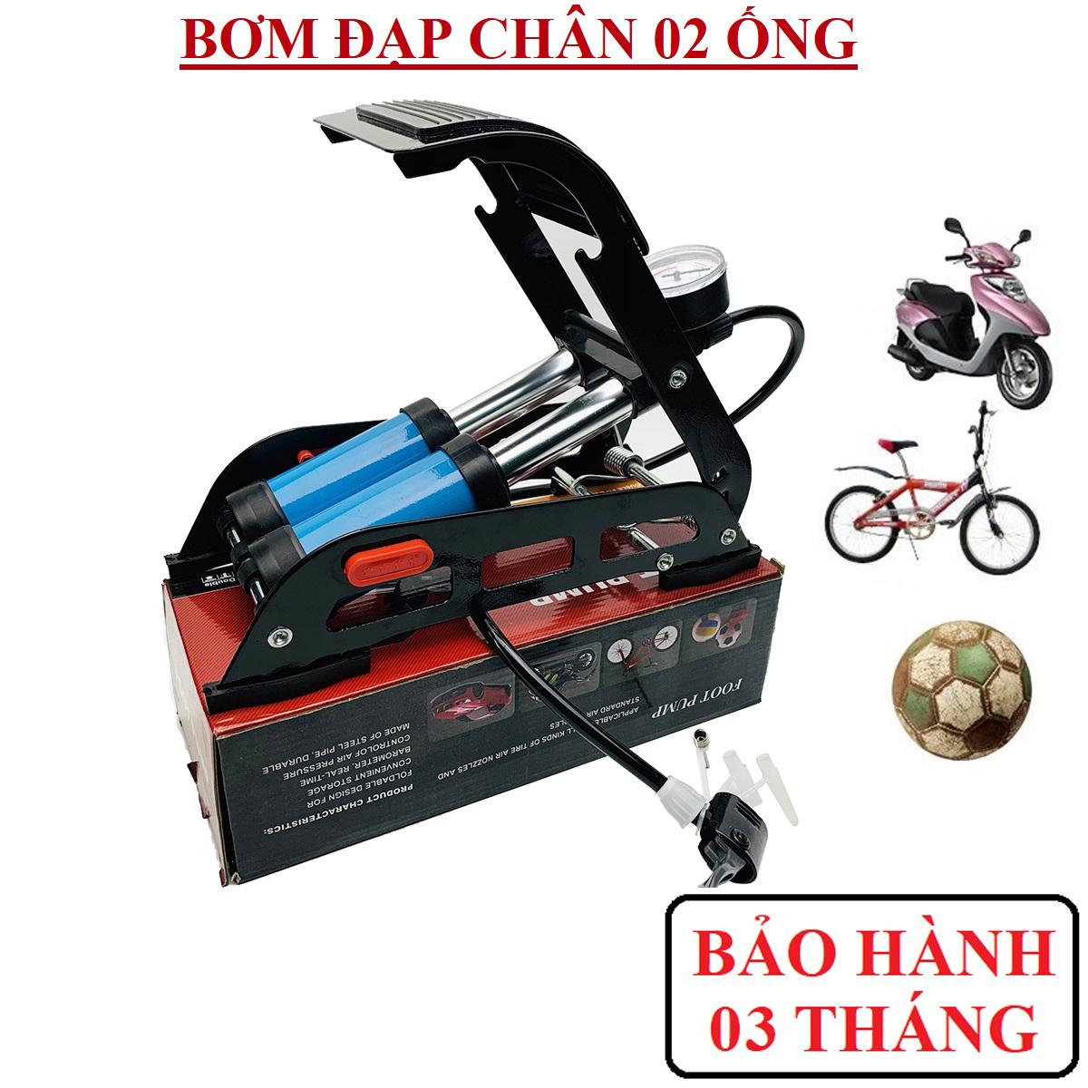 Bom xe may  bom xe dap  bơm đạp chân cao cấp bơm đạp chân 2 ống Vĩnh Khang